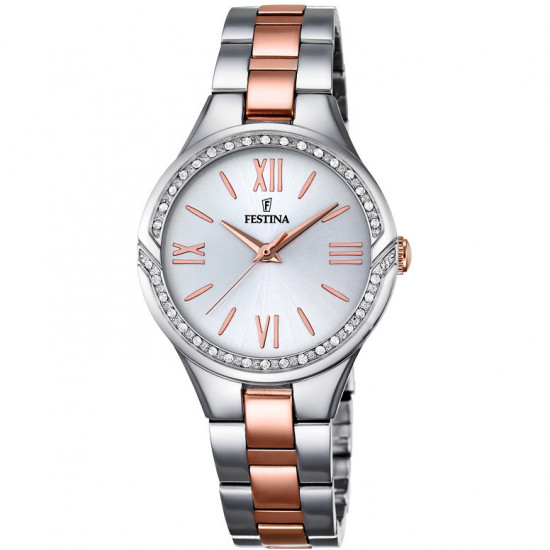 Festina Watch Woman Only Time Mademoiselle Silver and Rosegold