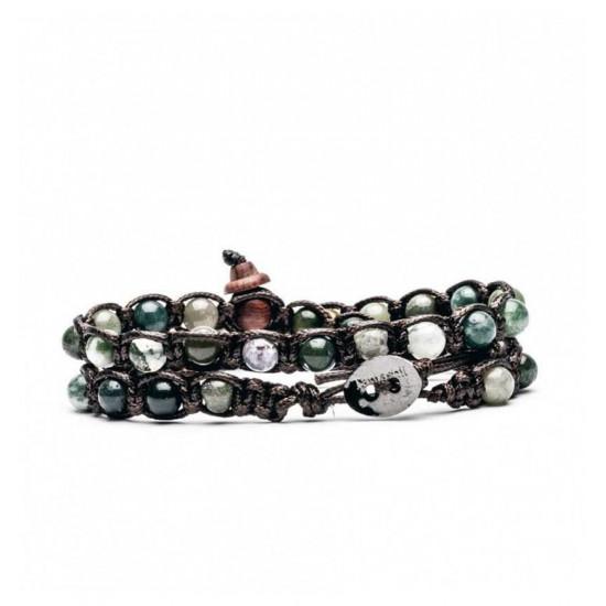Tamashii Tibet Unisex's Bracelet 2 Tours Collection Moosk Agate