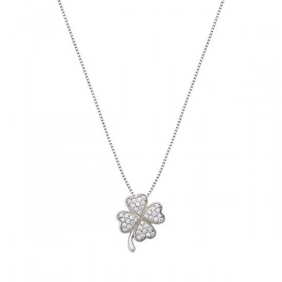 Amen Necklace Woman Fortuna Four-Leaf Clover White Zirconias